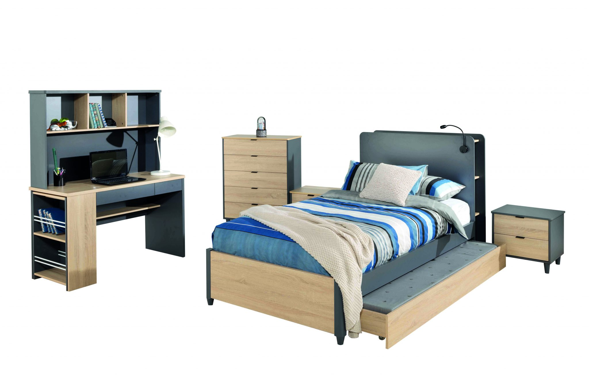 Oscar Single Bed, Bedside, Tallboy & Desk, Hutch & Shelf (2)