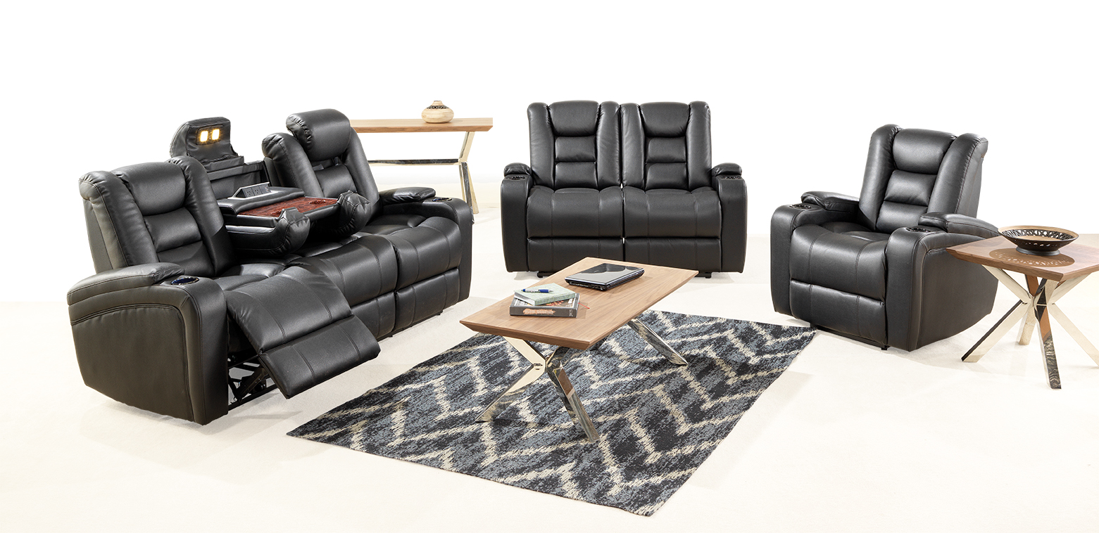 Mercury 3ERER + 2ERER and Electric Recliner with Nordic Coffee Table, Lamp Table and Hall Table
